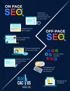 BluCactus-Que-es-el-posicionamiento-SEO- Infografía del Off page seo y On page seo